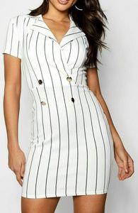 White Black Pinstriped Mini Dress US Size Small